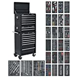 Sealey SPTCOMBO2 Tool Chest Combination 14 Drawer with Ball Bearing Slides - Black & 1179pc Tool Kit