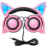 Kids Headphones with Cat Ear, MallTEK LED On-ear Foldable Headset for Kids Earphone 3.5 Jack Compatible with PC, Android Smartphone, iPhone, iPad, Samsung, MP3, MP4, and other Devices with 3.5mm Jack - Pink