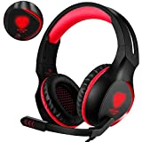 BUTFULAKE PS4 Gaming Headset, 3.5mm Stereo Over Ear Headphone with Flexible Noise Cancelling Mic & LED Light for Xbox One S/ PlayStation 4 Pro Slim/ Nintendo Switch/ PC