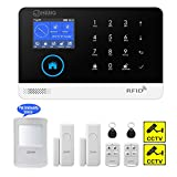 JC Wireless GSM & WIFI Security Alarm System, Home and Business RFID Burglar Security, Support Auto Dial, Multi-language GUI and English APP Control , with Pet-friendly PIR Detector, Door Window Sensor,Remote Controller, RFID Tag, and Warning Sticker