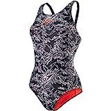 Speedo Women Boom Allover Muscleback Swimsuit - Black/White, 14 UK