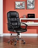Office Computer Desk Chair Swivel base Armrest High Back for Home Meeting Living Room Office Furniture - EBS Black PU Leather Swivel Chrome Base