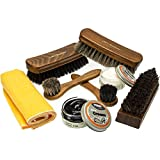 Premium 100% Horsehair Shoe Care Kit with Brushes and Shoe Creme. Professional and exquisite shoe shine kit by Langlauf Schuhbedarf.