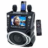 Karaoke USA GF830 Bluetooth Portable DVD/CDG/MP3G/CD Karaoke Machine with Large Screen, 2 Microphones, and 300 Karaoke Songs
