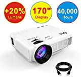 DR.Q (2018 Upgraded) Projector +20% Lumen Projector with 170' Display, 40000 Hours, Video Projector 1080P, Connection with TV Stick HDMI VGA USB AV TF Device, with HDMI and AV Cable, White.