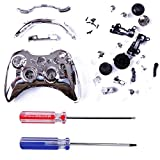 HDE Xbox 360 Wireless Controller Shell Buttons Thumbsticks Torx Screwdriver Replacement Case Cover and Tool Kit - Chrome Silver
