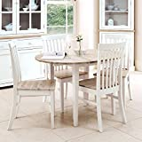 Florence white round extended table (92-117cm). 100% hardwood kitchen dining table with limed wooden top. Table ONLY. Matching chairs are also available