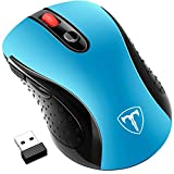 Wireless Mouse, Patuoxun 2.4G USB Wireless Mice Optical PC Laptop Computer Mouse with Nano Receiver, 2400 DPI 5 Adjustment Levels, 6 Buttons for Windows Mac Macbook Pro Linux Apple iMac - Super Energey Saving, Sky Blue
