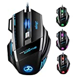 Gaming Mouse, (7 Buttons, 5 Colors Changing, Fire Key) VicTsing Wired Gaming Mice PC Computer Laptop Mouse with 5 DPI Levels Adjustable (1000-5500), 5200 Hz Polling Rate for Windows 7/8/XP, Vista, MC and OS - Black