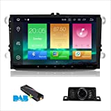 Android 8.0 Car Stereo Double 2 Din 9 Inch Capacitive Touch Screen IPS Panel GPS Navigation System for VW VOLKSVAGEN Golf Passat Tiguan Polo Jetta Skoda Seat Octa-core 4G RAM 32G ROM (Free DAB+Box/Reverse camera/External mic included)