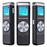Digital Voice Recorder,TENSAFEE 8G Dictaphone Sound Recorder,Portable Rechargeable HD Audio Recorder with Double Microphone Clear recording, MP3 Player/A-B Repeat/One Touch Recording,Voice Recorders for Lectures/Meetings/Interviews/Class