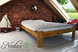 New wooden solid pine bedframe 'F15' with sturdy plywood slats (135 x 190 cm, oak)