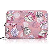 Arvok 11 11.6 12 Inch Canvas Fabric Laptop Sleeve With Extra Bag/Notebook Computer Case/Ultrabook Tablet Briefcase Carrying Bag/Pouch Cover For MacBook /Acer/Asus/Dell/Lenovo/ Samsung, Romantic Pink