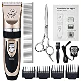 Dog Grooming Clippers, Otstar Rechargeable Cordless Pet Hair Clippers Kit for Dogs Cats and Other Animals with Stainless Steel Comb and Scissors, Low Noise Low Vibration (Black and Gold)