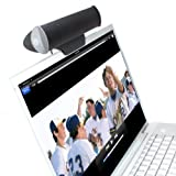 USB 2.0 Speaker Clip-On Laptop Stereo Soundbar with 2 Drivers and Removable Table Stand by GOgroove - For Windows and Mac - Apple Macbook , HP Spectre , Dell XPS , Acer , ASUS , Razer , Alienware and more - Black