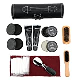 Shoe Shine Care Set,Portable Shoe Polish Oil Shoe Wooden Brushes Leather Cylinder Box Travel Kit