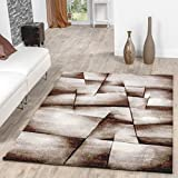 Madeira Rug Beige Brown Living Room Rug Chequered Contour Cut Clearance Sale, 80 x 150 cm