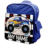 BLUE Personalised Monster Truck Rucksack Backpack