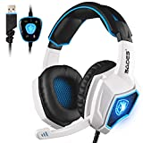 Spirit Wolf PC Gaming Headset USB 7.1 Surround Sound Headset Over-ear Headphones with Microphone for PC / Mac / Laptop (White/Blue)