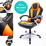 RayGar Deluxe Gaming Sports Racing Style Chair Computer Desk Reclining Office Chair Orange