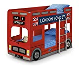 Happy Beds London Bus Bunk Bed Red Wooden Kids 2x Orthopaedic Mattress 3' Single 90 x 190 cm