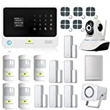 Golden Security 2-IN-1 WIFI+GSM(2G) Wireless Burglar Alarm System Kits with 360-Degree IP Camera and Motion/PIR/Door Window Sensor, Support Android/IOS App, Auto Dial, Remote Control Home Security System G90B00