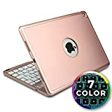 iPad Air 2 keyboard case, iPad Pro 9.7 Keyboard case [Bluetooth iPad Case with Keyboard] COOPER NOTEKEE F8S Backlit Wireless Clamshell Keyboard iPad Case | Color LED Backlight, 60HR Battery, Rose Gold