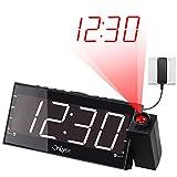 "OnLyee 7"" Digital LED Projection Alarm Clock with FM Radio, Dimmer, USB Charging Port,Battery Backup for Bedroom, Desk, Shelf, Kitchen, Kids, Wall, Ceiling"