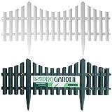 SET OF 4 PLASTIC WOODEN EFFECT LAWN BORDER EDGE GARDEN EDGING PLANT PICKET FENCING PANELS SET (White)