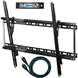 Cheetah Mounts APTMM2B TV Wall Mount Bracket for 20-75' TVs Up To VESA 600 and165lbs, includes a 10' HDMI Cable with Braided Jacket and a 6' 3-Axis Magnetic Bubble Level