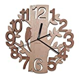 Giftgarden Unique Contemporary Tree-Shaped Wooden Modern Home Decorative Living Room Wall Clock Decor