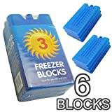 New Freezer Blocks - Suitable For Cooler Boxes & Bags - Cools & Keeps Food Fresh - In Packs of 3/6 (Pack of 6)