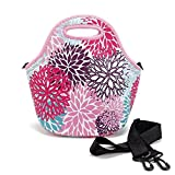 Neoprene Lunch Tote Insulated Reusable Picnic Lunch Bags Lunch Container Box Bag Cooler Handbag with Strap for Unisex Adults Kids Waterproof Pink Flower
