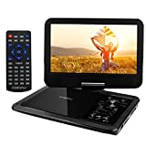 COOAU 12.5' Portable DVD Player with 360° Swivel Screen, 5 Hours Built-in Rechargeable Battery, Supports SD Card/USB/Sync TV with Remote Control and Game Controller, Direct Play in Formats AVI/RMVB/JPEG/MP3, Black