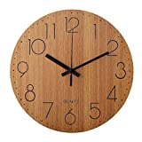 LENRUS 12' Wooden Wall Clock, Arabic Numeral Design Rustic Country Tuscan Style Vintage Decorative Round Wall Clocks (Wood Color)