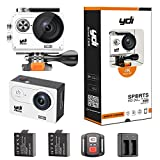 YDI H9R Waterproof Action Camera 4K WIFI Helmet Video Sport Cam Ultra HD 2.0 Inch Screen 170 Wide Angle Degree with 2.4G Remote Control, 2*1050 mAh Batteries, Free Dual Battery Charger in Accessories Kits (White)