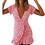 Womens Dresses,Moonuy Girl Short Sleeve V Neck Irregular Floral Mini Evening Party Dress Clubwear Elegant Loose Playsuit Jumpsuits Beach Dress For Ladies Fashion Casual Autumn Summer Skirt (M, Red)