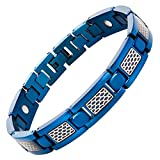 Willis Judd Men's Blue Titanium Magnetic Bracelet with Rose Honeycomb and Link Remover Tool Gift Boxed