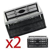 Fold Flat Crate - Plastic 32 L Folding Storage Crate Box (Pack of 2)