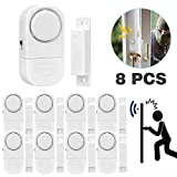 Senweit Pack of 8 Magnetic Door and Window Security Entry Alarm System WirelessMini Alarms Burglar Intruder Entry Warning Sensors White (Battery Included)