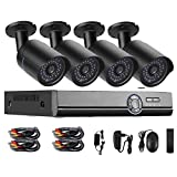 Security Camera Systems,65ft Night vision Intelligent Motion Detection Alarm System,IP66 Weatherproof Security Cameras,4CH 720P CCTV Recorder and 4X 1280TVL