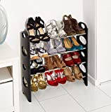 Vinsani 4 Tier Free Standing Shoe Rack Stand Storage Organiser Shelf Home Furniture (Black)