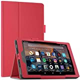 All-New Fire HD 8 2017 Tablet Case Cover, Infiland Ultra Slim Lightweight leather folio standing Cover with Auto Wake / Sleep for Amazon New Fire HD 8 with Alexa (8' Tablet, 7th Generation - 2017 release)(Red)