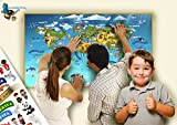 Children's Kids World Map Wall Sticker Animal World Map Wall Stickers Map Print Wall Decal Art Mural World Boys Bedroom World Map Decoration For Wall Travel Cartographic Children World Atlas Map Wallpaper | Extra Large 57cm X 102 cm (22' X 40') More than 150 separated small stickers and Map Base Made by BumbleBee Print KM-01-UK
