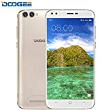 SIM Free Smartphones, DOOGEE X30 Unlocked Dual SIM Phone, Android 7.0 5.5 Inch IPS HD Mobile Phones with 2GB RAM + 16GB ROM - Mali 400 525MHz - Dual 5.0MP Front Cameras + Dual 8.0MP Rear Cameras - 3360mAh - Gold