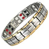 MPS EUROPE Bio 4 Elements Gold-Silver Titanium Magnetic Bracelet with Fold-Over Clasp for Men + Free Links Removal Tool