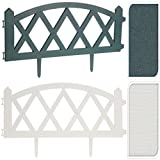 Set Of 4 Plastic Wooden Effect Diamond Lattice Shaped Lawn Border Edge Garden Edging Plant Picket Fencing Panels Set (White)