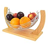 Top Home Solutions Beautiful Decorative Chrome Wire Fruit Basket Hammock Bowl Stand With Wooden Base