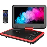 ieGeek 11.5' Portable DVD Player with Game Joystick, 5 Hour Rechargeable Battery, Support DVD, USB & SD Card Memory Playing, Directly Play AVI/RMVB/MP3/JPEG, Red