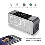 Digital Alarm Clock, DiKaou Dual Alarms Digital with Bluetooth Speaker, 10W Dual Driver Stereo Speaker Enhanced Bass, Desk Alarm Clock and Large LED Display, for Kid, Home, Office, Daily Life